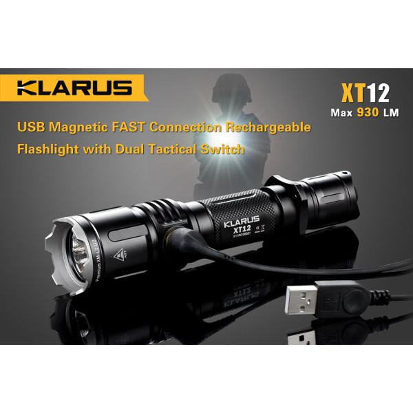 Klarus XT12 CREE XM-L2 U2 930LM Uppladdningsbara Tactical LED Ficklampa Ficklampor