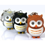 Luminous Sound Cartoon Owls LED Key Chain Color Optional Flashlight