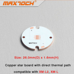 MAXTOCH CREE XM-L2 XM-L Copper Star-styrelse med Direkttermo 26x1.6mm