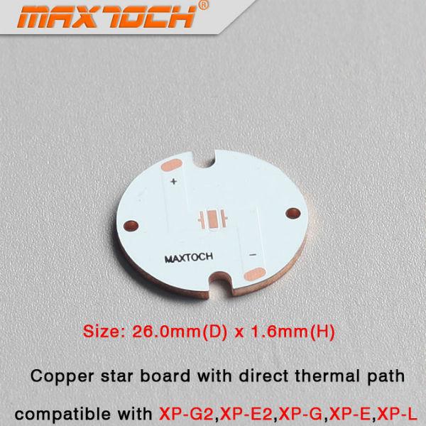 MAXTOCH CREE XP-L XP-G XP-G2 XP-3 XPE-2 Copper Base Board 26x1.6mm Ficklampor