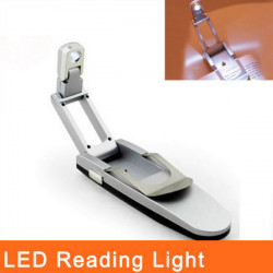 Mini LED Foldable Reading Book Clip LED Light Silver