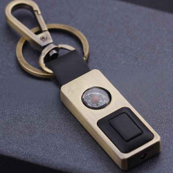 Multifunction Compass With Light Leather LED Keychain Light Metal Hook