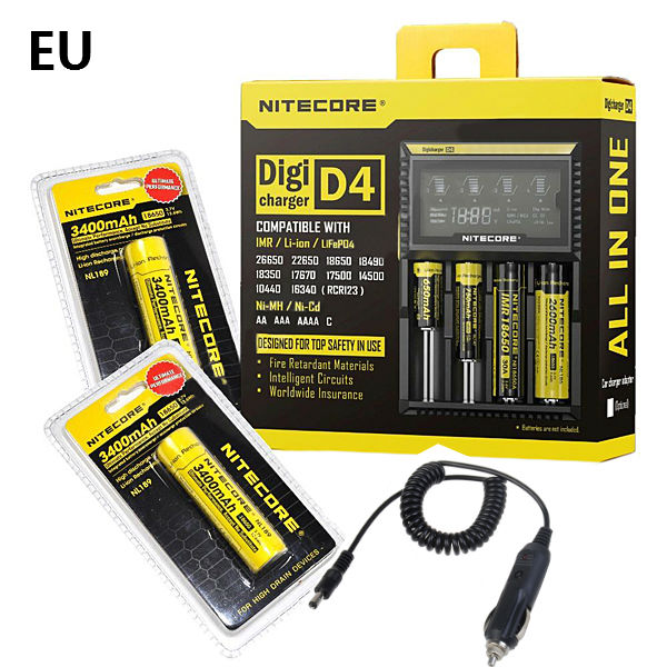 NITECORE Digicharger D4 LCD Charger+2x18650 3400ma+Car Charger Flashlight