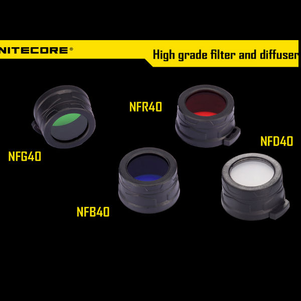 Nitecore 40mm Filter Diffuser Four Colors For EA4/MH25/P25 Flashlight