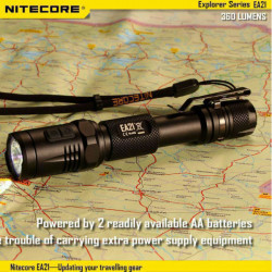 Nitecore EA21 CREE XP-G2 (R5) 360lm LED Ficklampa + Röd Flash