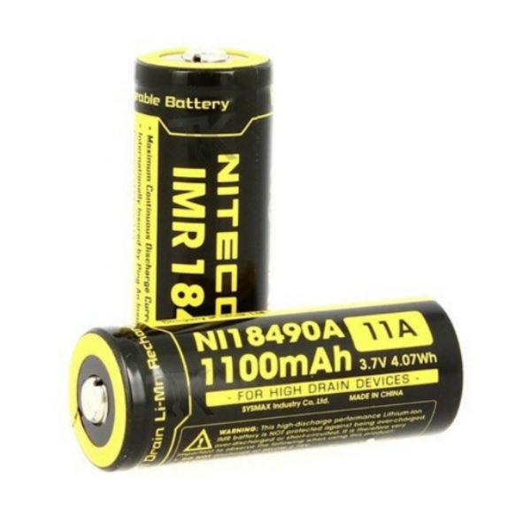 Nitecore IMR18490 1100mAh 11A Uppladdningsbart Li-Mn Batteri Ficklampor