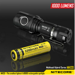 Nitecore MH20 CREE XM-L2 U2 1000LM USB Smallest LED Flashlight 18650