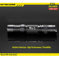 Nitecore P10 CREE XM-L2 (T6) 800LM Strobe Ready LED Ficklampa