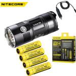 Nitecore TM06 Flashlight +4xNL189 Battery +Nitecore D4+ Car Charger Flashlight