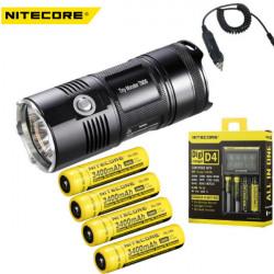 Nitecore TM06 Ficklampa + 4xNL189 Battery + Nitecore D4 + Billaddare