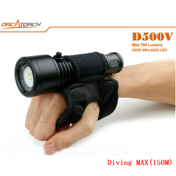 ORCATORCH D500V CREE XM-L2 (U2) 700LM Dykning LED Ficklampa 150M Ficklampor