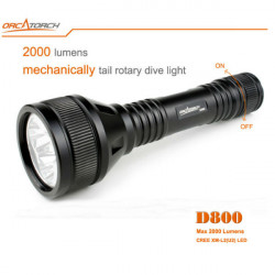 ORCATORCH D800 3xCREE XM-L2 (U2) Tail Rotary Dykning LED Ficklampa