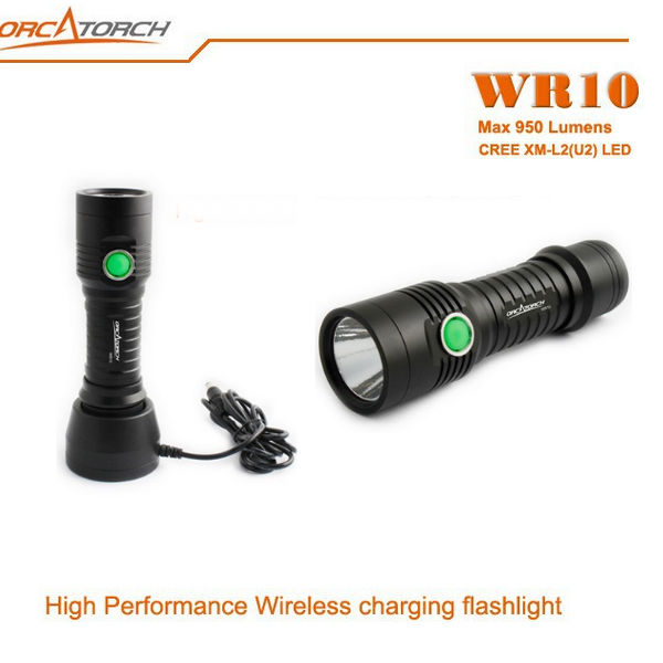 ORCATORCH WR10 CREE XM-L2 (U2) 950LM Trådlös Laddning LED-Ficklampa Ficklampor