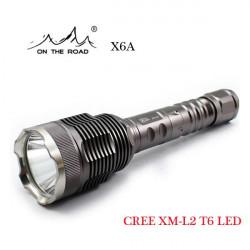 På Vägen X6A CREE XM-L2 T6 1000LM T6-1A / T6-3C LED Ficklampa