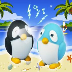 Penguin Lysande Ljud LED Nyckelring Leksak