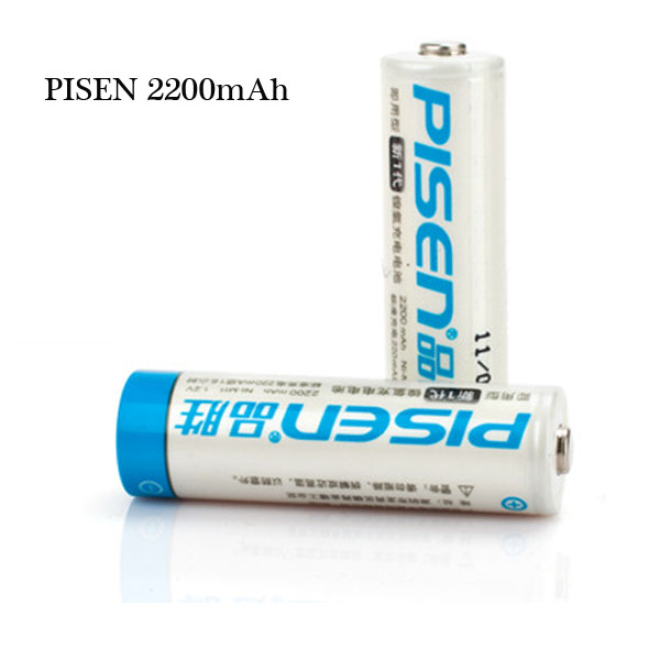 Pisen 2200mah 1.2V Rechargeable Ni-MH AA Battery 2Pcs Flashlight