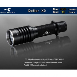 SKILHUNT Defier X0 CREE XM-L2 650lm Tactical LED Flashlight