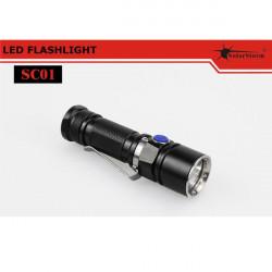 SolarStorm SC01 XM-L2 T6-3C / U2-1A 190LM LED Ficklampa
