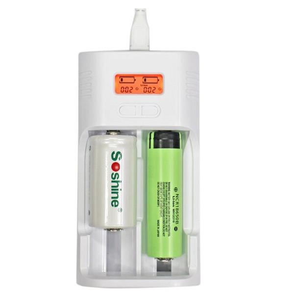 Soshine T2 LCD Universal Charger för 26650 18650 16340 14500 Batteri Ficklampor
