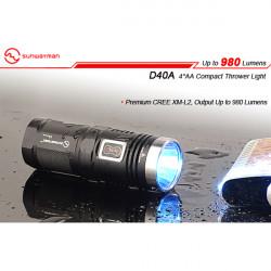 Sunwayman D40A CREE XM-L2 980 Lumen LED Lommelygte 4xAA