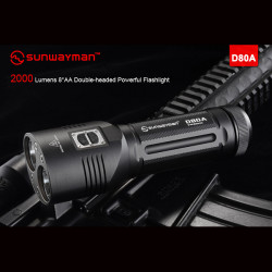 Sunwayman D80A Cree XM-L2 2000LM Tvehövdade LED Ficklampa 8 * AA