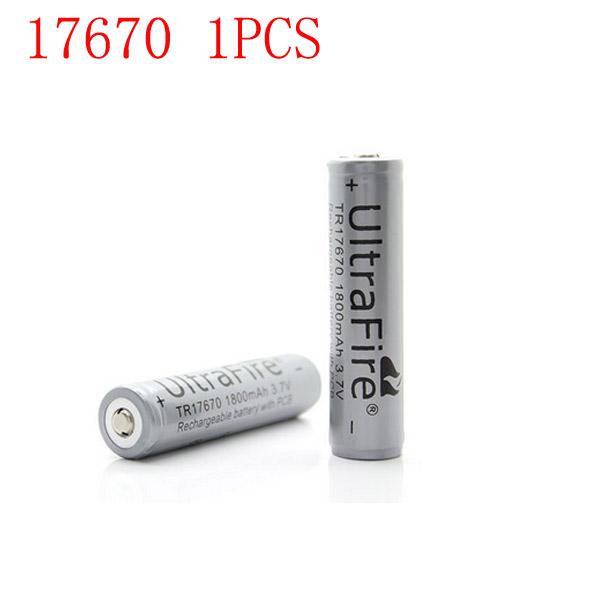 Ultra 3.7V 1800mAh 17670 Uppladdningsbart Batteri med Skydd 1PCS Ficklampor