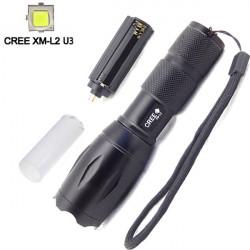 Ultra CREE XM-L2 U3 2000LM 5 Mode Zoombar LED Ficklampa
