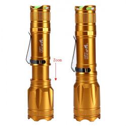Ultra CREE XM-L T6 2000LM Zoombar LED Ficklampa Guld