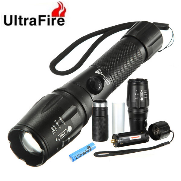 Ultra CREE XM-L T6 2000lm LED Ficklampa med 18650 Suit Ficklampor