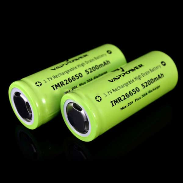 VAPPOWER 26650 5200mAh 20A 3.7V Li-Ion Uppladdningsbart Batteri Ficklampor