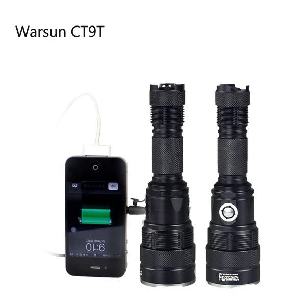 Warsun CT9T CREE XM-L2 6Modes Uppladdningsbara LED Ficklampa Ficklampor