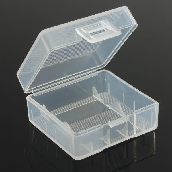 Vit Hårt Plastbatterilåda Box för 2x18350 Batteri Ficklampor