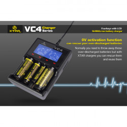 XTAR VC4 LCD Bildschirm USB Ladegerät für 18650 26650 14500 Batterie