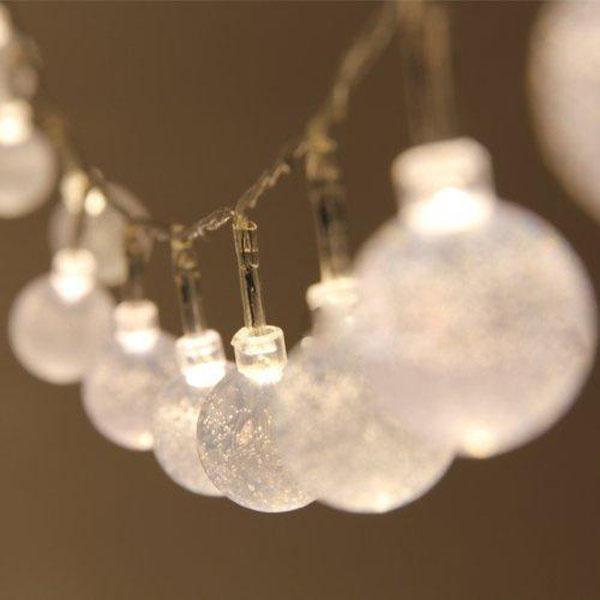 1m / 2m / 3m / 4m Varm Hvid Crystal Ball Fe Lys Holiday Dekoration Julebelysning