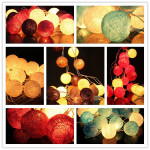 20 Cotton Ball Fe String Lys Party Holiday Bryllup Decor Julebelysning