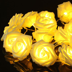 20 LED Romantic Rose Flower Fe String Lys for Bryllupsfest