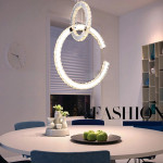 2 rings LED Crystal Drop Light Luxury Design Fancy Pendant Lamp 220V Lighting Chandeliers
