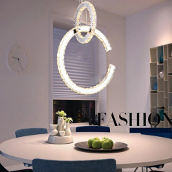 2 rings LED Crystal Drop Light Luxury Design Fancy Pendant Lamp 220V