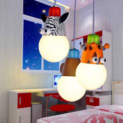 30x80cm Cartoon Three Heads Animal Children Bedroom Ceiling Light 220V