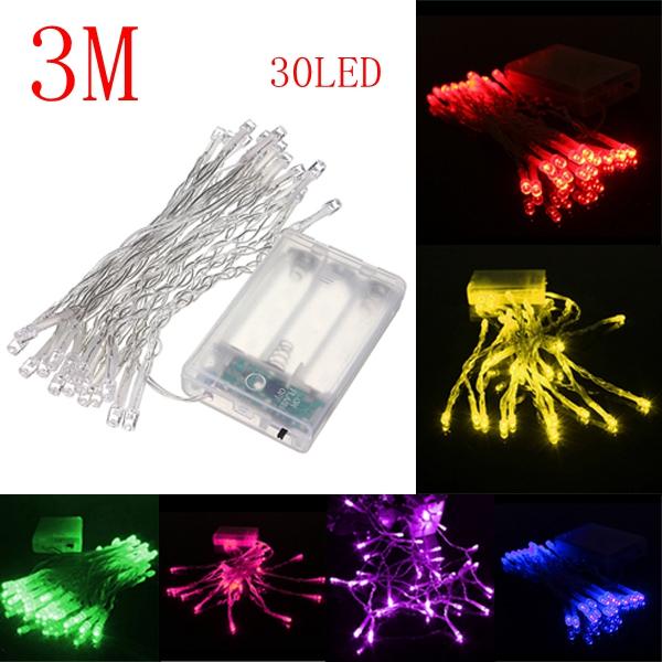 3M 30 LED Batteridrivna Jul Bröllopsfest Slinga Fairy Ljus Julbelysning
