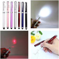 4-I-1 Funktion 650nm Ballpen Kapacitiv Touch Röd Laserpekare