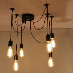 6 Lichter Edison Retro Spider Pendelleuchte Beleuchtung AC 110 240V