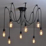 8 Belysning Edison Retro Spider Hängande Ljus Belysning AC 110-240V Taklampor