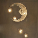 Aluminium Wire Moon Star Featured Pendant Light with 5 Lights Lighting Chandeliers