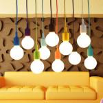 Färgglada E27 Silikongummi Hängande Ljus Lamphållare Sockel DIY Taklampor