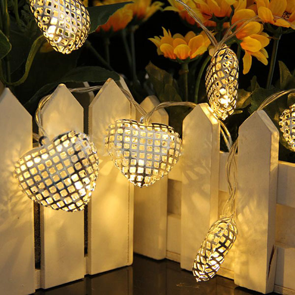 Cute Warm White Heart LED Christmas Fairy String Decoration Light Holiday Lights