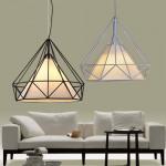 Diamond Iron Birdcage Retro Restaurant Pyramid Pendant Lamp 110-240V Loftslamper