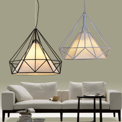 Diamond Iron Birdcage Retro Restaurant Pyramid Pendant Lamp 110-240V
