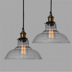 E27 28CM Vintage Industrial Ceiling Lamp Shade Glass Pendant Lights