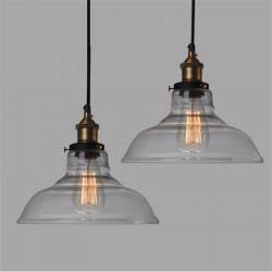 E27 28cm Vintage Industrial Loftlampe Shade Glas Vedhæng Lys